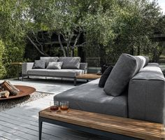 Epic Tarragona Loungegruppe teilig Flachgeflecht grau Kissen anthrazit Loungem bel Garten Pinterest Garten