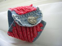 Recycled denim cuff bracelet.