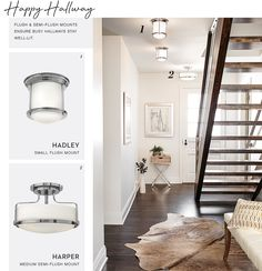 Renovated Lakeside Retreat - Flush and semi-flush mounts ensure busy hallways stay well-light. Featuring Harper and Hadley from Hinkley Lighting. #hallwaylighting #hinkleystyle #coastaldesign Hallway Lighting, Sconce Lighting, Small Space Living, Small Spaces, Cottage Door, Hinkley Lighting, Hadley, Design Firms, Hallways