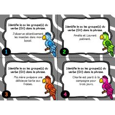 Cartes à tâches : Le groupe du verbe Teaching Activities, Teaching Tools, French Practice, Classroom Arrangement, School Tool, French Resources, French Class, Cycle 3, Teaching French
