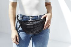 Black leather fanny pack with crocodile print - DAPHNY RAES.