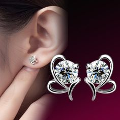 sweet love channel 2015 crystal stud earrings for women lady party sports  as gift