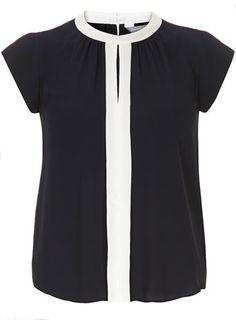 Petite Navy Blouse - Blouses & Shirts - Tops & T-Shirts  - Clothing