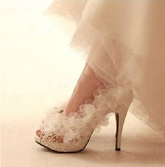 Wedding Shoes Flowers Lace Bridal Shoes Peeptoes by laceNbling