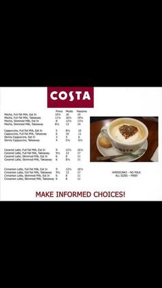 Costa coffee syn list part 2 slimming world eating out, slimming world syn values, Slimming World Eating Out, Slimming World Syns List, Slimming World Syn Values, Slimming World Recipes, Syn Free Food, Fresh Coffee Beans, Costa Coffee, Full Fat Milk, Low Calorie Snacks