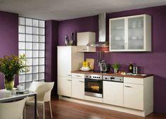 Purple Kitchen White Cabinets Simple Kitchen Cabinets - Home Design Information Purple Kitchen Walls, Purple Kitchen Designs, Very Small Kitchen Design, Best Kitchen Designs, Purple Walls, Purple Kitchen Paint Ideas, Color Walls, Neutral Kitchen, Wall Colours