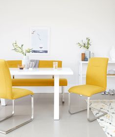 The Zen White Gloss and Fergus Mustard Dining Bench Set combines a modern dining table with a trendy yellow bench and matching cantilever dining chairs. This mustard dining bench set will add a lovely pop of colour to your dining room. Dining Room Chairs, Dining Furniture, Dining Bench, Modern Dining Table, Dining Set, Table And Bench Set, Mustard, Zen, Trends
