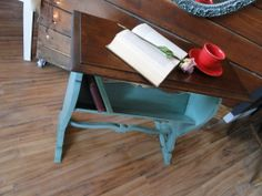 This book table has been painted in a Soft Jade with a dark oak top. Modern Vintage
