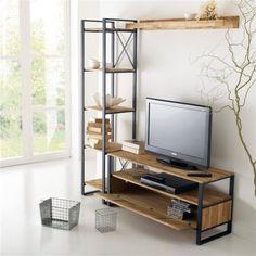 Mueble Tv Diseño Industrial Vajillero Hierro Y Madera Ant22 - $ 19.300,00 en Mercado Libre