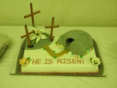 """Easter Cake...""""He Is Risen""""  3 Crosses on a Hill w/ Empty Tomb"""