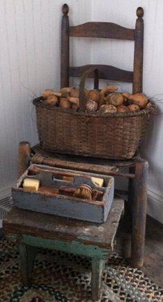 Old Chair...painted stool, wooden tote & primitive basket.