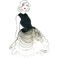 Original Watercolor Fashion Illustration - Dior Does Ombre