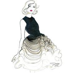Original Watercolor Fashion Illustration - Dior Does Ombre