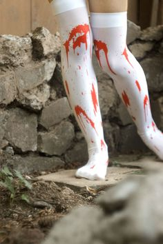 All the gore, none of the mess!  Bright red spatter-print will make you look like you just survived or made an attack all evening long.  These thigh highs are going to be around for Halloween only, so get 'em while you can!