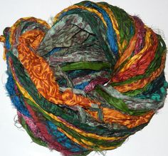 100g Recycled Sari Silk Ribbon Yarn multi 65 yards  by JuliaLCraft, $9.99