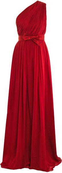 Giambattista Valli One Shoulder Chiffon Gown in Red | Lyst