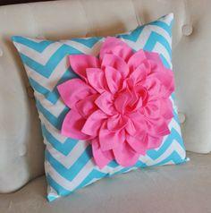 Pink Dahlia on Aqua Blue and White Zigzag Pillow -Chevron Pillow-
