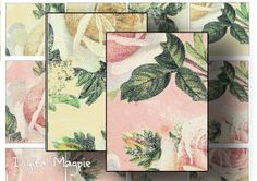 Digital collage sheet Shabby Roses tags ATC sized digital papers for instant download digital printable
