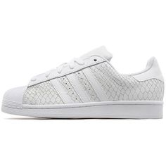 adidas Originals Superstar Snake Women's ($100) ❤ liked on Polyvore featuring shoes, white, python shoes, snakeskin print shoes, traction shoes, adidas originals shoes and adidas originals