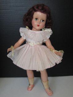"Vintage 1950's Arranbee 14"" Nanette Doll w/ Original Pleated Pink Party Dress"