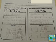 Problem and Solution Example 2 1st Grade Activities, Problem Solving Activities, Reading Activities, Literacy Activities, Anchor Charts First Grade, Reading Anchor Charts, 2nd Grade Writing, First Grade Reading, Kindergarten Social Studies