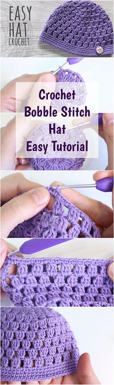 Crochet Bobble Stitch Hat Easy Tutorial