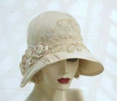 Custom Made Vintage Style Ivory Cloche Hat by Gail's Custom Hats