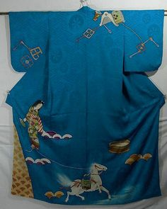 vintage kimono has a girl and horse motif which is from one of a Japanese dancing program.  The dancing program is about a superhuman strength girl who lives around Lake Biwa(the largest lake in Japan) stopped an unruly horse by stepping on the reins.   It has 'seigaiha'(wave) as a part of Lake Biwa, horse gears and a bucket to wash the horse to depict the dancing program faithfully.