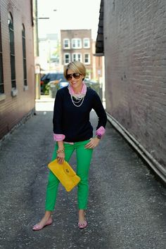 Kelly green, pink gingham and spring sweater. Perfect.