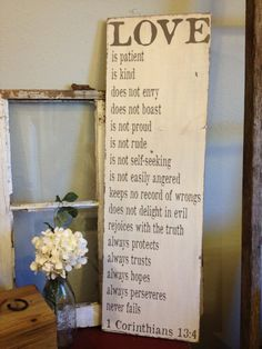 Love is patient, love is kind - 1 Corinthians 13 - lovely wedding gift or Valentine's Day Gift