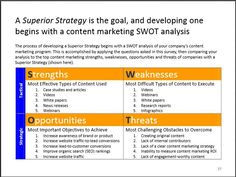 Content marketing strategy SWOT from Ascend2 marketing research report http://ascend2.com/home/reports/