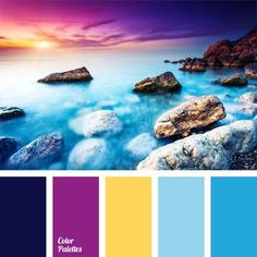 Sunset at Sea is really a fascinating spectacle. Most daring combination of colors, however, looks organically: lemon yellow, cornflower blue, purple, indigo and fuchsia color. These bright, cheerful colors will make a woman who decided to create an image based on sea sunset, really irresistible.