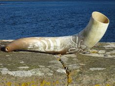 Blowing war horn Carved by Kernunos Horn Craft Specialist The Celtic Dog Blowing in his mouth