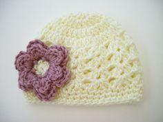 Newborn Crochet Hat Crochet Baby Hat Baby Girl Hat by CarolinaHats