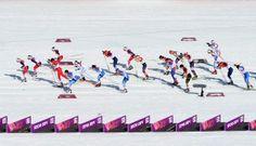 Athletes start the Women's 30 km Mass Start Free (c) Getty Images