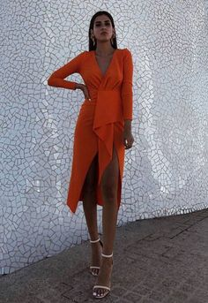 Outlet Engrossing Party Dresses With Sleeves, V Neck Party Dresses, Orange Party Dresses Party Dresses With Sleeves, Simple Dresses, Cute Dresses, Short Dresses, Event Dresses, Occasion Dresses, Fiesta Outfit, Look Formal, Elegant Outfit