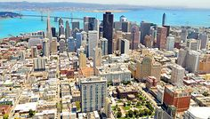 San Francisco skyline from helicopter