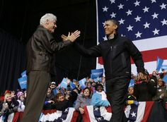President Barack Obama is introduced by former President Bill Clinton, 11-3-2012, in Bristow, VA (AP Photo/Pable Martinez Monsivais)