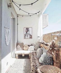 Describe this cozy balcony in one word! Discover eDescribe this cozy balcony in one word! Discover ePray for surf wall art, surf summer decor, trendy cozy balcony decor, diy decor ideas, printable art - My Summer Decor, Beach House Decor, Small Apartments, Patio Decor, Bedroom Decor, Dream Decor, Home Decor, Apartment Balcony Decorating, Apartment Decor