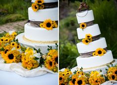 Sunflowers on cake....pretty photo with bouquets at base.....use bouquets for Sweetheart table also