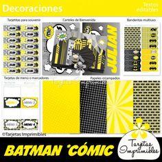 Batman kit de decoraciones de fiesta imprimibles. Banderines, etiquetas para candy bar, cajitas, tarjetas de invitación para cumpleaños y mucho más! #batman #imprimiblesbatman #batmanprintables #batmanpartyideas