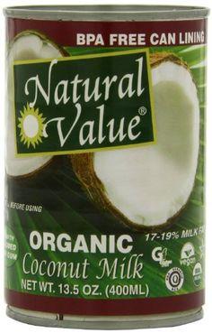 Natural Value Organic Coconut Milk, 13.5-Ounce Cans (Pack of 6) - http://goodvibeorganics.com/natural-value-organic-coconut-milk-13-5-ounce-cans-pack-of-6/