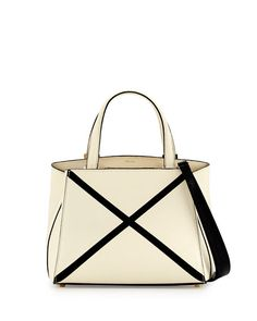 VALEXTRA Triennale Mini Tote Bag W/Contrast Trim, White. #valextra #bags #shoulder bags #hand bags #leather #tote #lining #