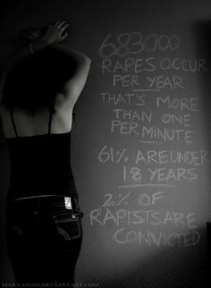 683 000 rapes occur per year. That's more than one per minute. 61% are under 18 years. 2% of rapists are convicted. (Statictic series by Maryana Sedarous.)