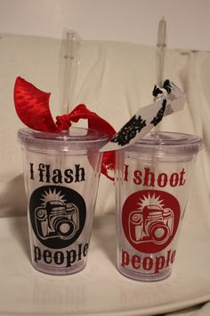"Photographer insulated tumbler with camera ""I SHOOT PEOPLE"". Personalize with a name or monogram. You pick colors.. $12.50, via Etsy."