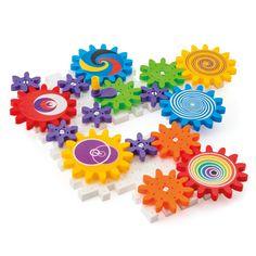 Des engrenages à assembler et à faire tourner pour des effets visuels étonnants grâce aux autocollants colorés. Ils permettent à l'enfant de se familiariser avec les premiers principes de la mécanique et découvrir la relation de cause à effet !
