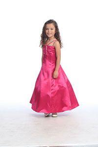 Flower Girl Dresses- Girls Dress Style 533- FUCHSIA- Satin Aline Double Strap Dress