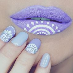 "Nail and ""lip"" art: ""Indian"" print lilac manicure with matching lips"