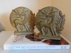 """Vintage """"Syroco Wood"""" Deer Bookends, 1940's - Vintage Bookends - Home Decor - Deer Bookends - Collectibles on Etsy, $34.00"""