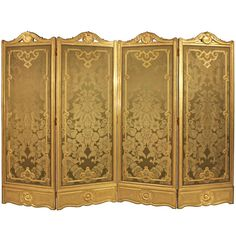 Antique French Late 19th Century Louis XV Style Four-Panel Giltwood Privacy Screen